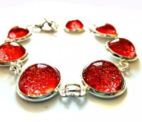 Galaxy Red Bracelet Garden of England Jewellery made with Glass Cabochons