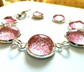 Galaxy Pink Bracelet Garden of England Jewellery made with Glass Cabochons