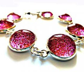 Galaxy Purple Bracelet Garden of England Jewellery made with Glass Cabochons