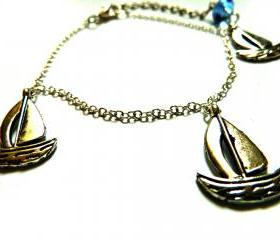 Boat Bracelet Garden of England Jewellery made with Glass Cabochons hand made