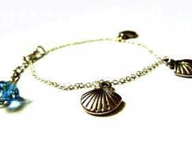Shell Bracelet Garden of England Jewellery made with Glass Cabochons hand made