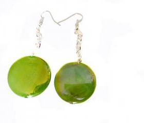 Sprayed shell Earrings peacock collection green