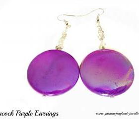 Sprayed shell Earrings peacock collection purple