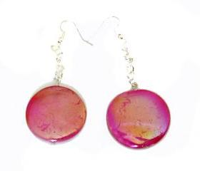 Sprayed shell Earrings peacock collection pink