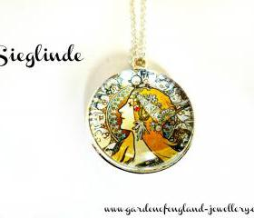 Art Nouveau Vintage Lady Sieglinde Necklace made with a glass cabochon and Tibetan Silver bezel, handmade