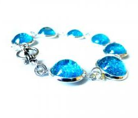 Galaxy Blue Bracelet Garden of England Jewellery made with Glass Cabochons