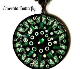 Emerald Butterfly Necklace by Garden of England Jewellery combines Rhinestones and Nailart